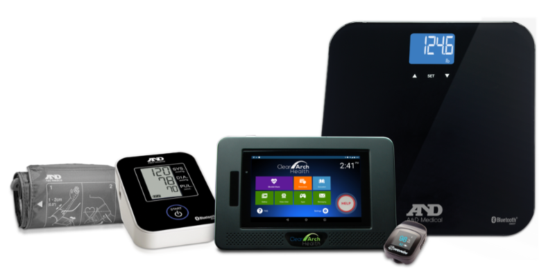 MobileHelp Touch system: tablet with peripherals include BP monitor and scale