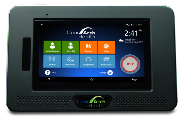 Clear Advantage touch screen tablet with SDoH services feature tiles and emergency help button.